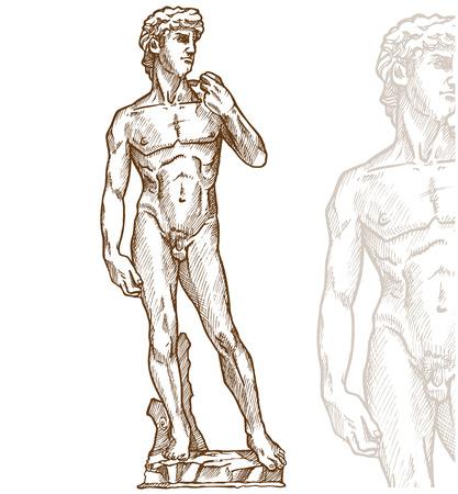 estatua de David de Miguel Ángel en el fondo