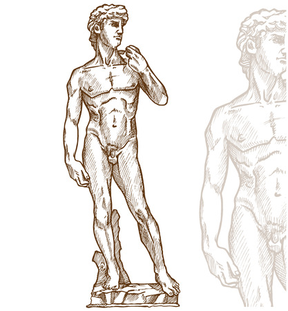 david statue of Michelangelo on background Illustration