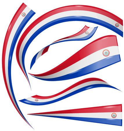 bandera de paraguay: Paraguay pabell�n conjunto aislado sobre fondo blanco