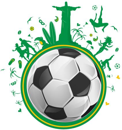 símbolo de Brasil fijados con balón de fútbol