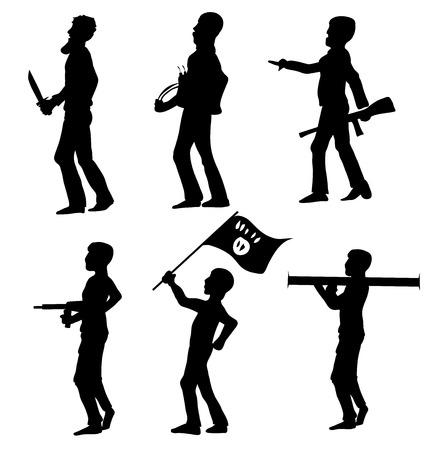 victim war: terrorist silhouette  symbol  set