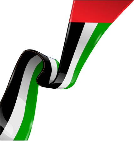 united arab emirate: united arab emirates ribbon flag on white background