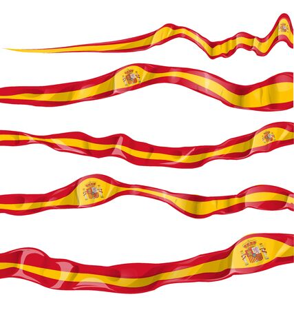 made in spain: spain flag collaction horizontal on white background Illustration
