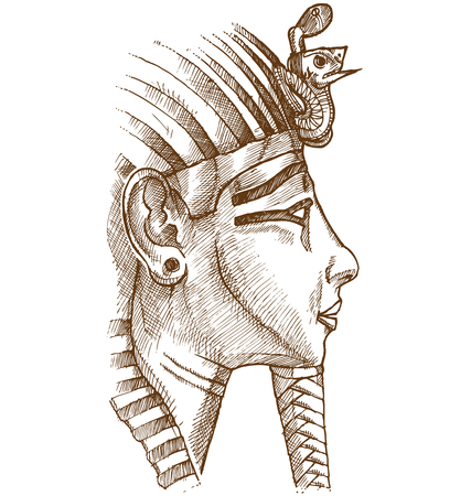 gold tutankhamon mask hand drawn