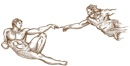 Creation of Adam hand drawn on white background Stock Illustratie