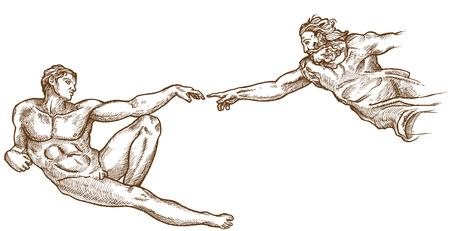 Schepping van Adam met de hand getekend op een witte achtergrond