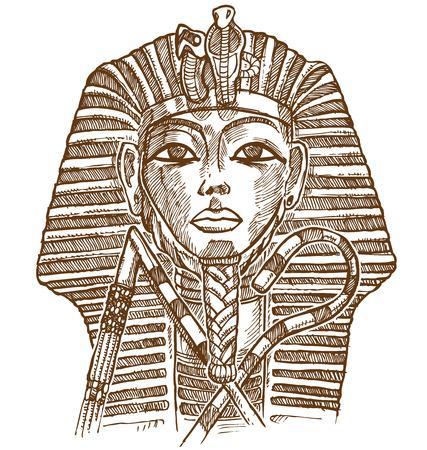 nefertiti: gold mask tutankhamun hand drawn Illustration