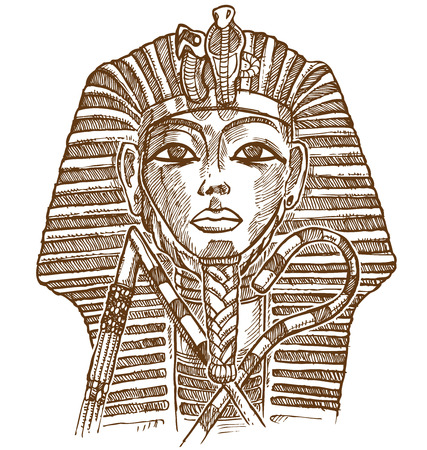 tutankhamen: gold mask tutankhamun hand drawn Illustration