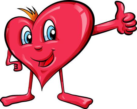 heart cartoon with thumbs up