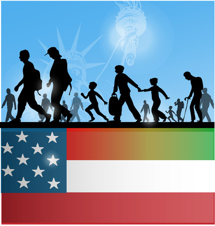illegal immigrant: american people immigration background with flag Illustration