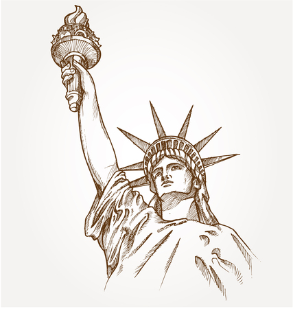 statue of liberty hand dawn on background