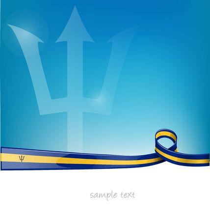 drapeau de ruban de Barbade sur fond de ciel bleu