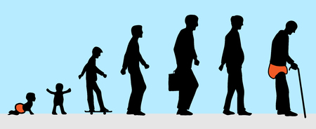the man from young to old silhouette Illustration