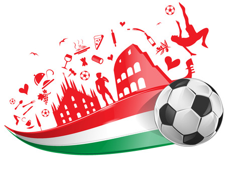 building silhouette: italian flag with soccer ball