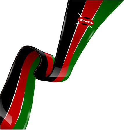 kenya: kenya flag ribbon on white background