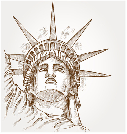 statue of liberty face hand dawn Illustration