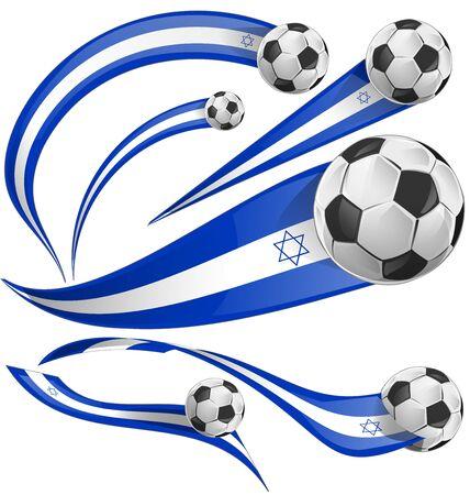 israel flag set with soccer ball on white background Illustration