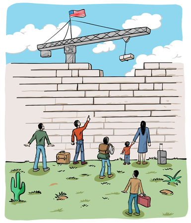 migrant: many people  refugees on a border wall with a crane and USA flag Illustration
