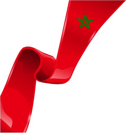 morocco ribbon flag on white background