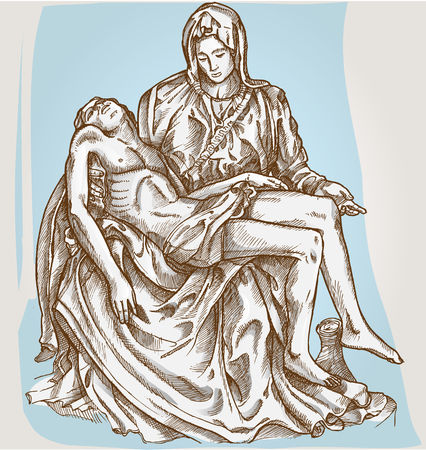 deposition: pieta statue of Michelangelo on blue background