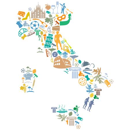 イタリアの地図にシルエットのシンボル セットを