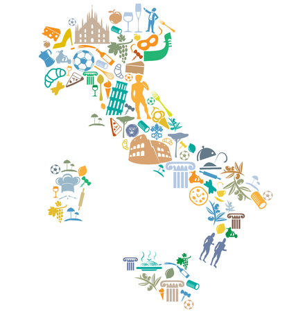 italian map with silhouette symbol set Vectores