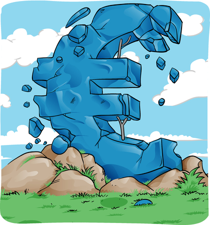 reduce risk: Euro symbol in crash for european crisis concept Illustration