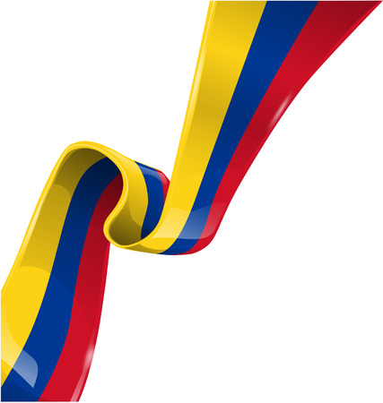 Colombia ribbon on white background