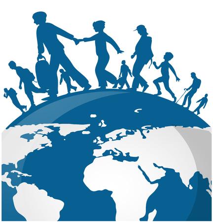 세계지도 배경에 이민 사람들 일러스트