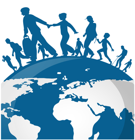 Immigration people on world map background Stock Illustratie