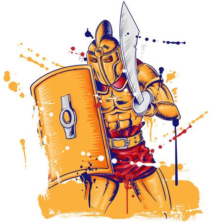 Roman gladiator warrior mascot isolated on white