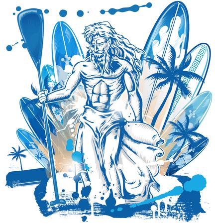 Neptune surfer on surfboard background.