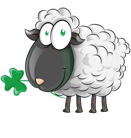 Irish sheep cartoon on white background.