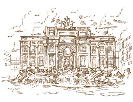 sketch of Trevi Fountain in retro style Ilustracja
