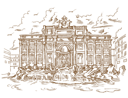 sketch of Trevi Fountain in retro style Illustration
