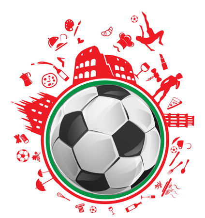 soccer ball with Italian symbol in the circle