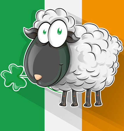 Irish sheep cartoon on Ireland flag.