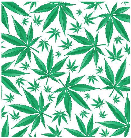 Marijuana green pattern on white background. Vectores
