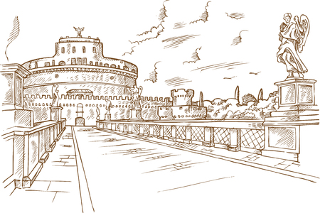 Castel Santangelo hand draw, Rome vector illustration.