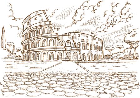 Colosseum hand draw on white background. Ilustração