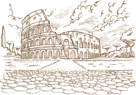 Colosseum hand draw on white background. Illustration