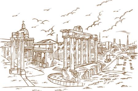 Pozostałości świątyń w Foro Romano, Rzym, Włochy ręcznie rysowane