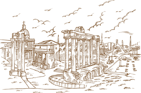 Remains of temples in Foro Romano, Rome, Italy hand drawn