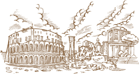 panoramic view on the ancient Theatre of Marcellus( Teatro di Marcello ), vector illustration hand draw Çizim