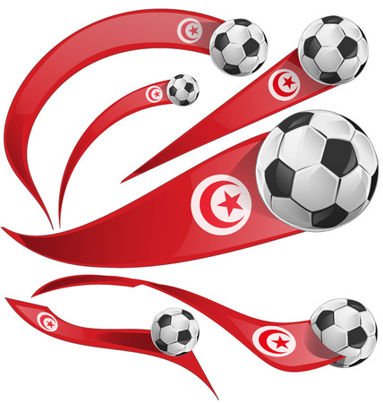 tunisia flag set with soccer ball isolated on white background