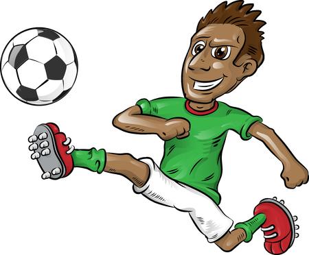 divertente, giocatore di calcio nigeriano, cartone animato, isolato, su, white