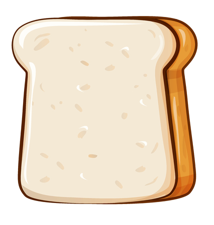 Fresh bread, toast for breakfast. Made in cartoon style. Çizim