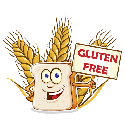 bread cartoon mascot with gluten free signboard