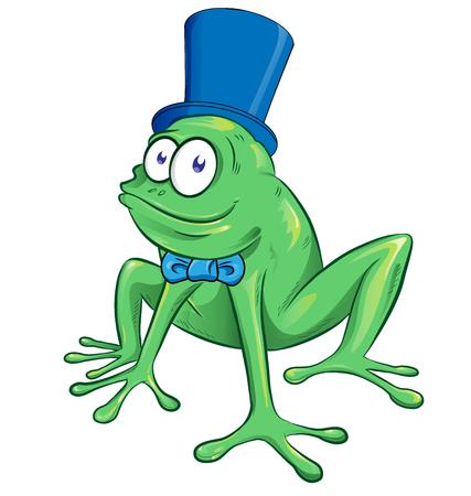 cute cartoon party frog mascot character Illustration