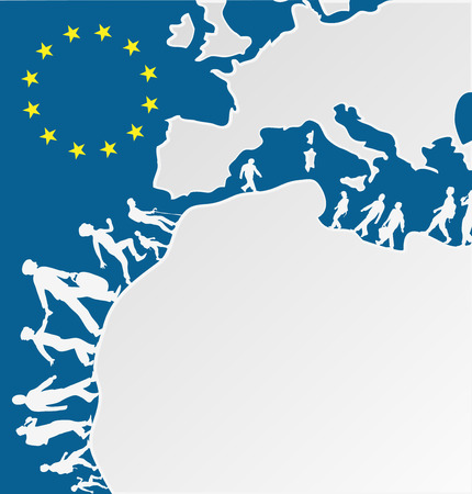 immigration people silhouette moving to europe Stock Illustratie